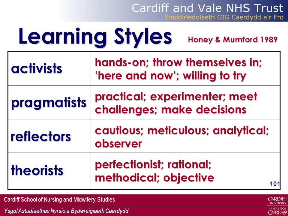 Learning Styles activists pragmatists reflectors theorists