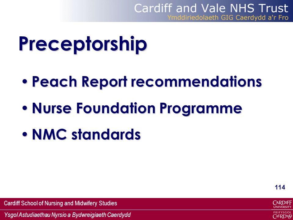 Preceptorship Peach Report recommendations Nurse Foundation Programme