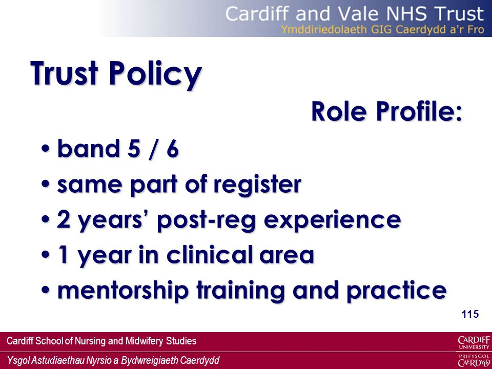 Trust Policy Role Profile: band 5 / 6 same part of register