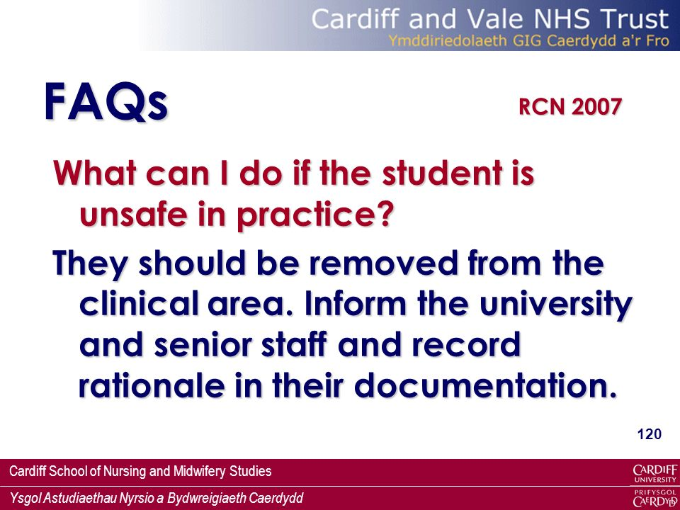 FAQs What can I do if the student is unsafe in practice