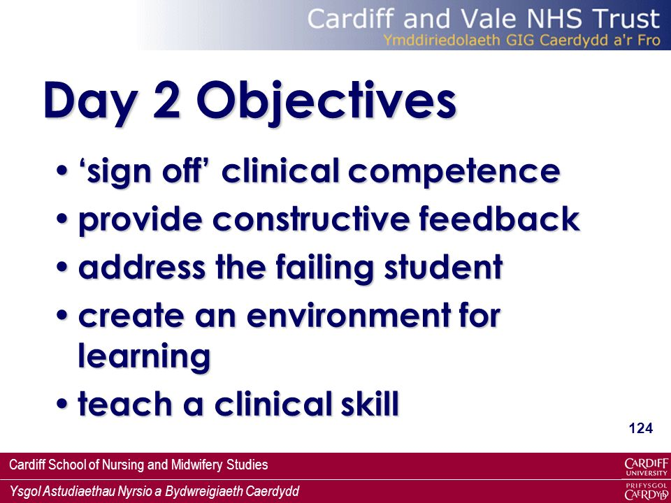 Day 2 Objectives 'sign off' clinical competence