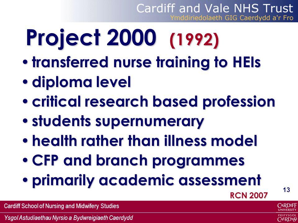 Project 2000 (1992) transferred nurse training to HEIs diploma level