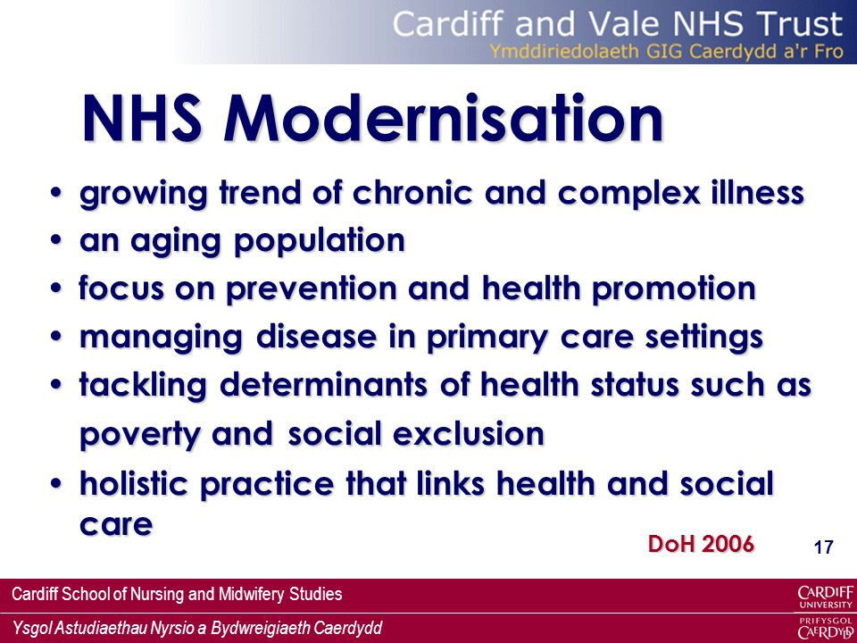 NHS Modernisation growing trend of chronic and complex illness