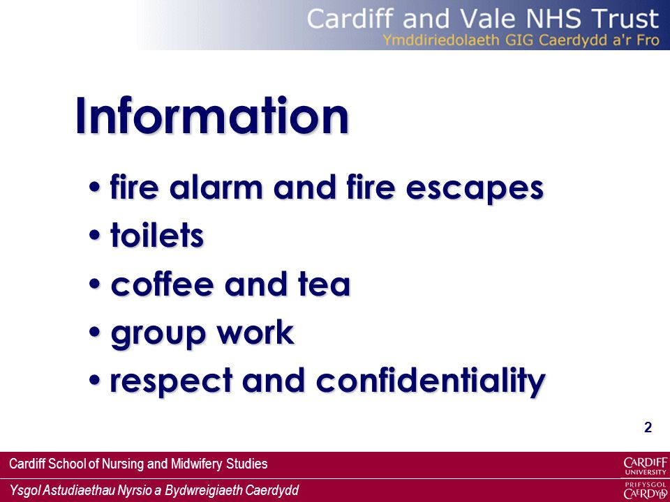 Information fire alarm and fire escapes toilets coffee and tea