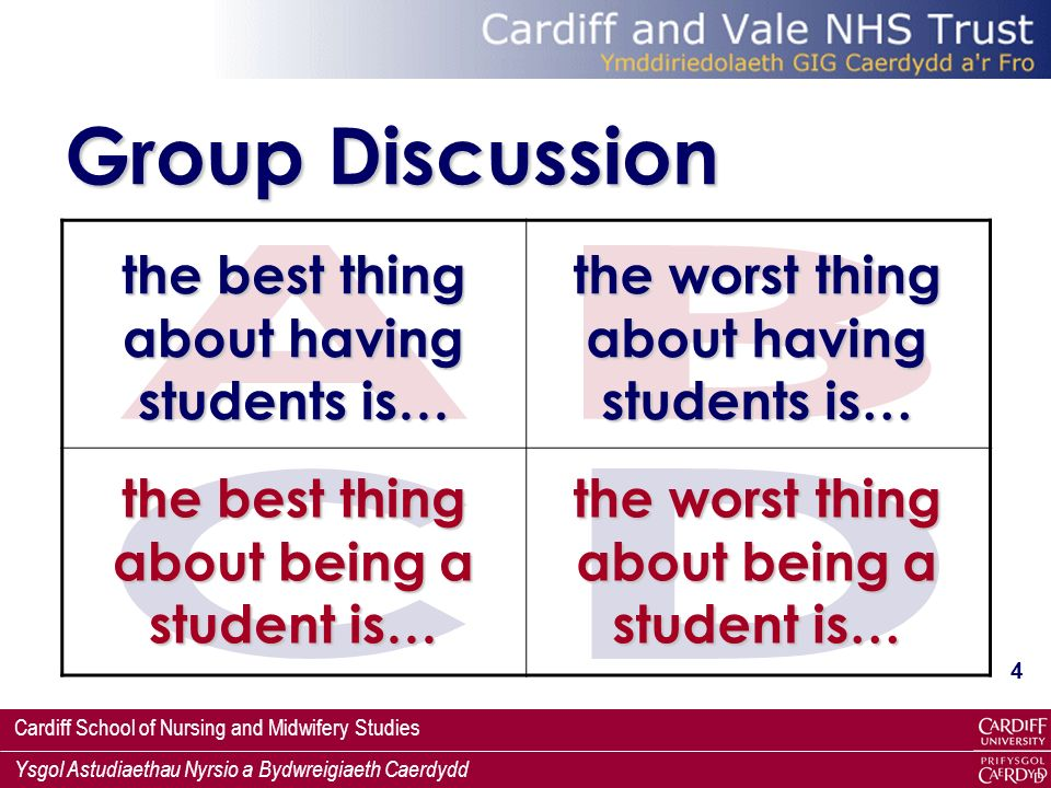 Group Discussion A B the best thing about having students is…