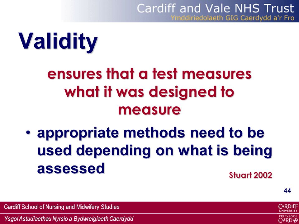 ensures that a test measures what it was designed to measure