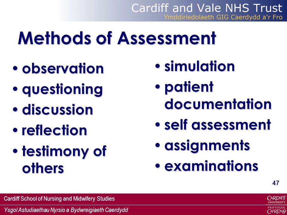 Methods of Assessment simulation observation patient documentation