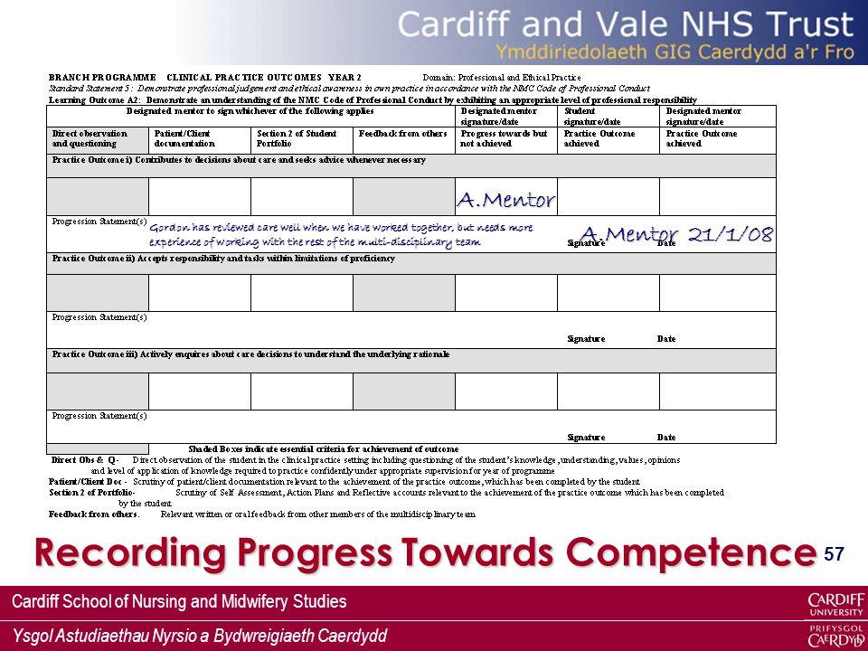 Recording Progress Towards Competence