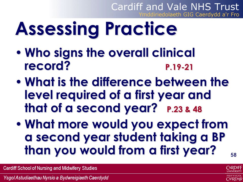 Assessing Practice Who signs the overall clinical record P.19-21