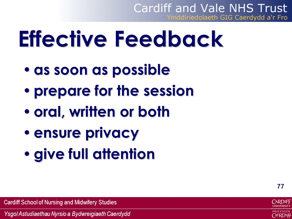 Effective Feedback as soon as possible prepare for the session