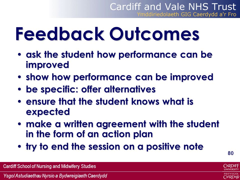 Feedback Outcomes ask the student how performance can be improved