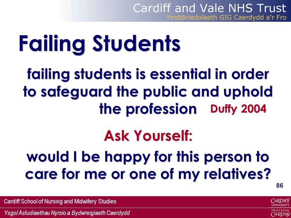 Failing Students failing students is essential in order to safeguard the public and uphold the profession.