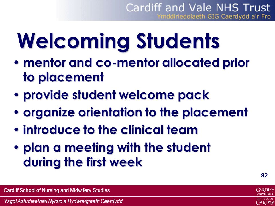 Welcoming Students mentor and co-mentor allocated prior to placement