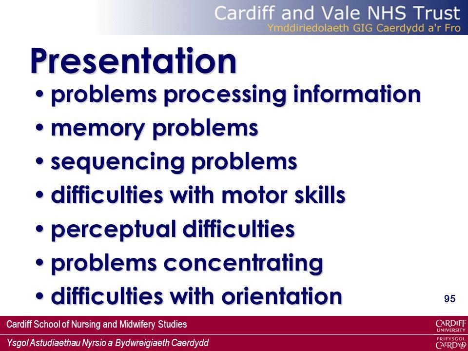 Presentation problems processing information memory problems