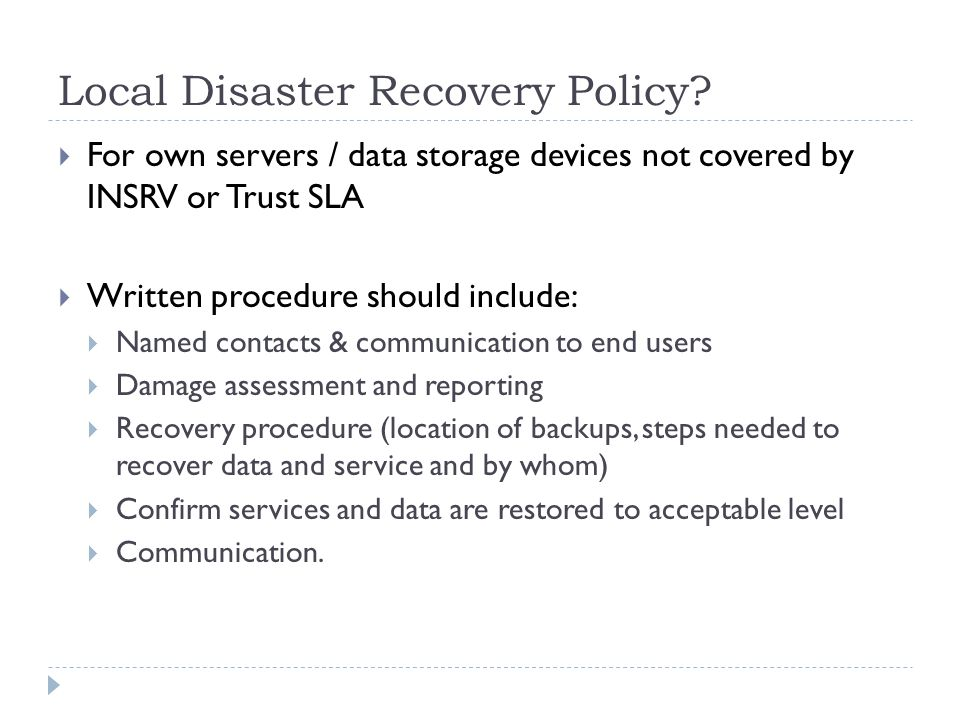 Local Disaster Recovery Policy
