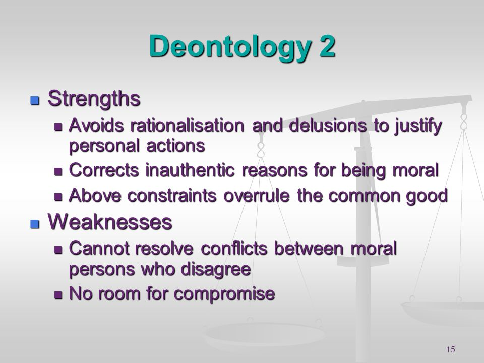 Deontology 2 Strengths Weaknesses