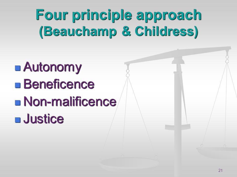 Four principle approach (Beauchamp & Childress)