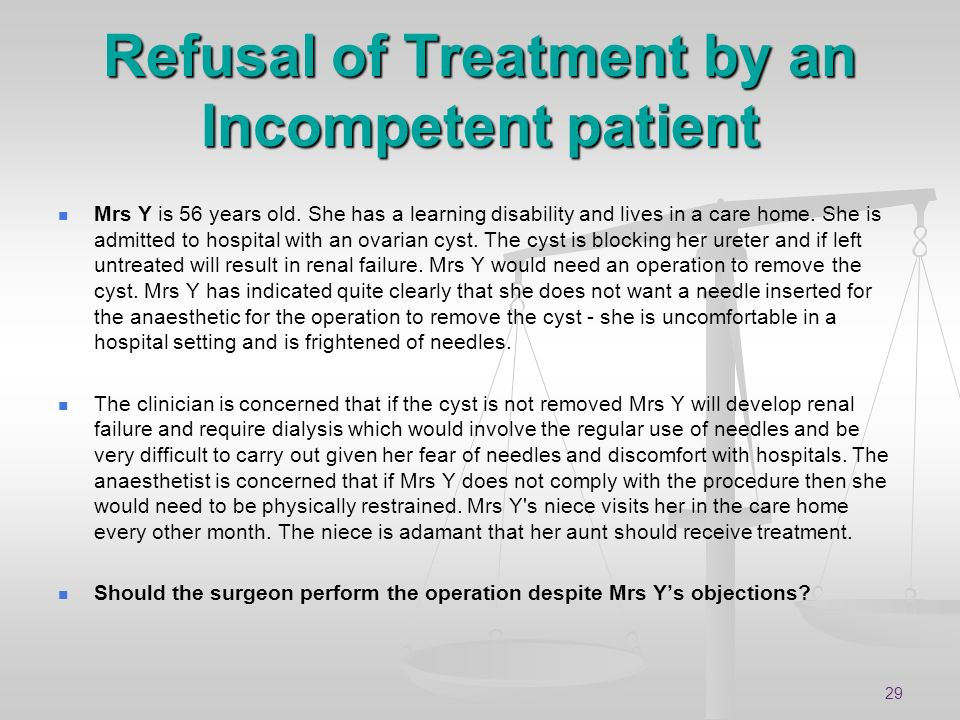 Refusal of Treatment by an Incompetent patient