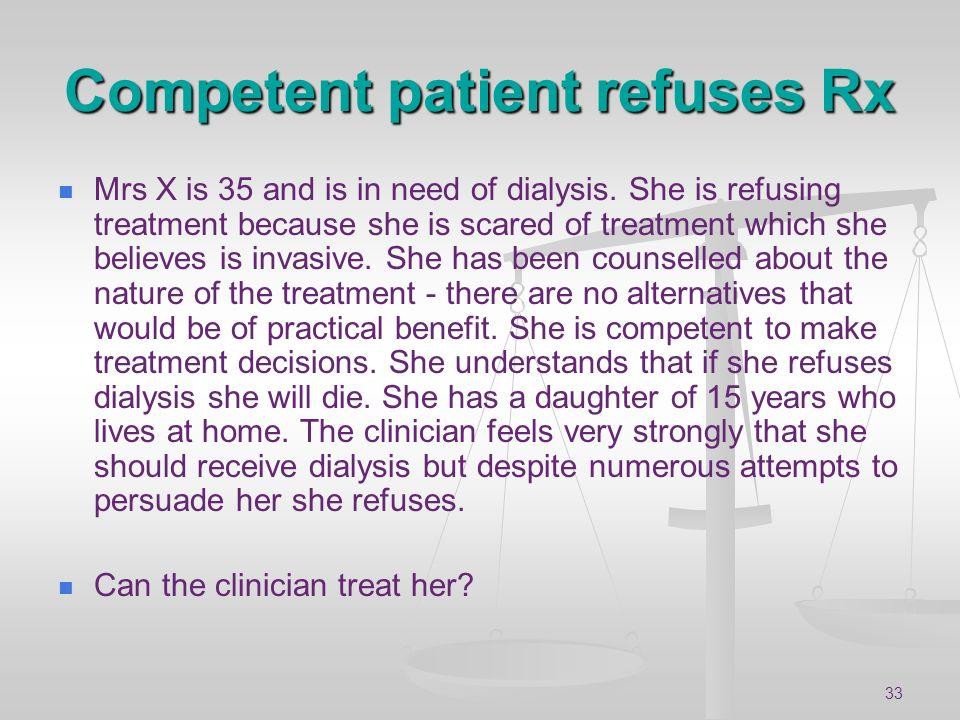 Competent patient refuses Rx