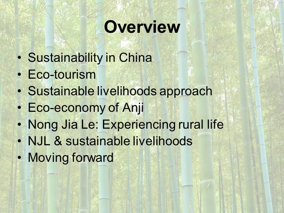 Overview Sustainability in China Eco-tourism