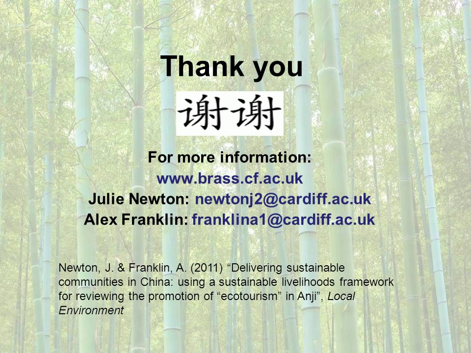 Thank you For more information: www.brass.cf.ac.uk