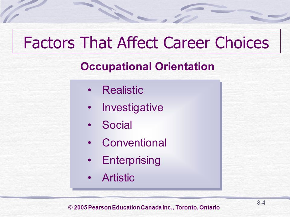 factors affecting career choices Free essay: among referents, the accounting principles instructor was the most influential one the twelve factors that influenced the students' decisions.
