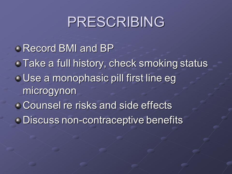 PRESCRIBING Record BMI and BP