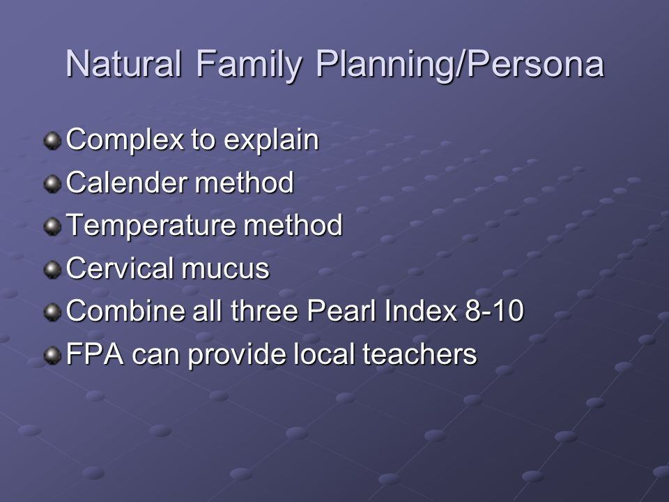 Natural Family Planning/Persona