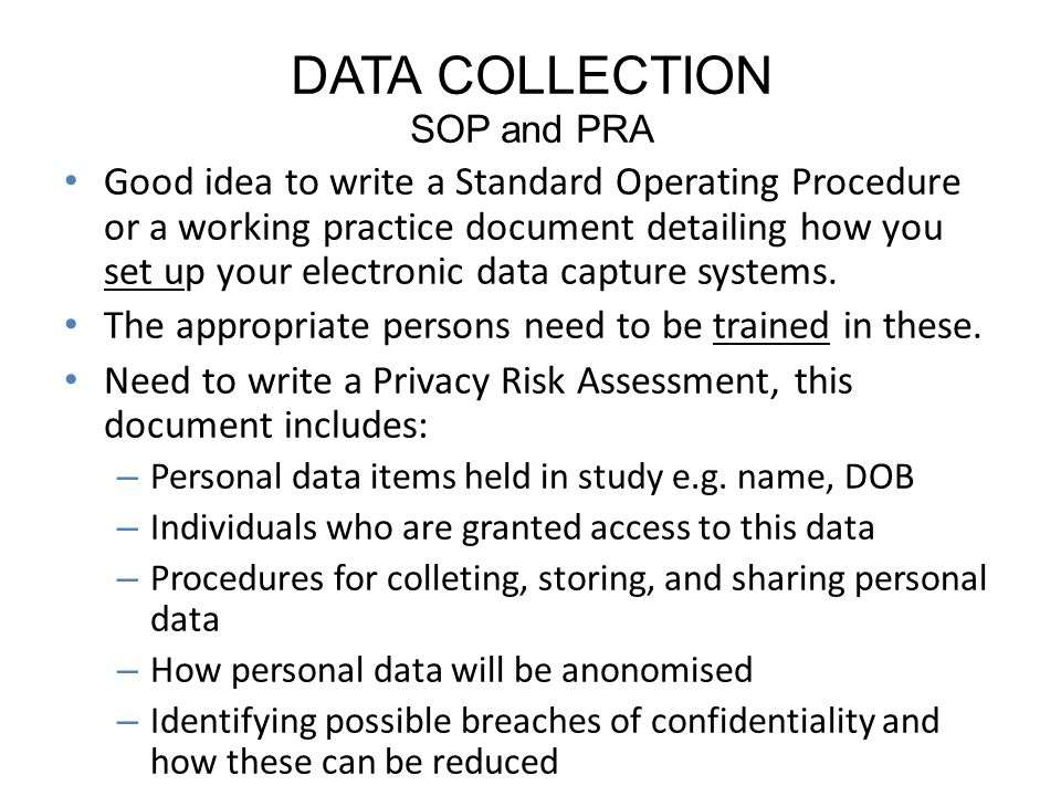 DATA COLLECTION SOP and PRA