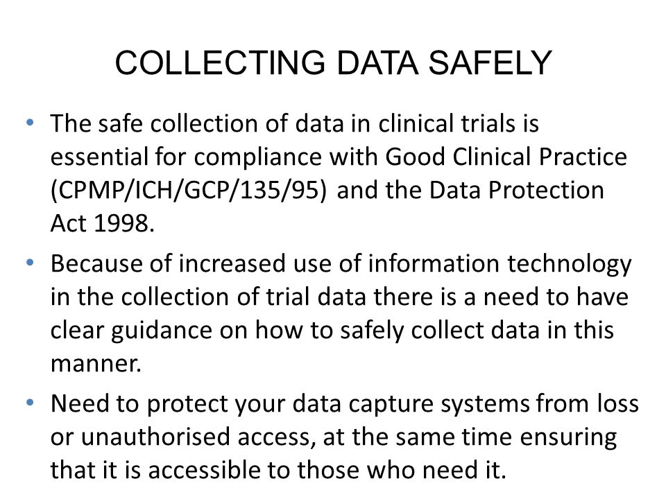 COLLECTING DATA SAFELY