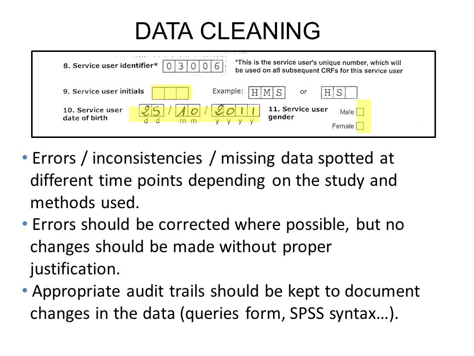 DATA CLEANING Errors / inconsistencies / missing data spotted at