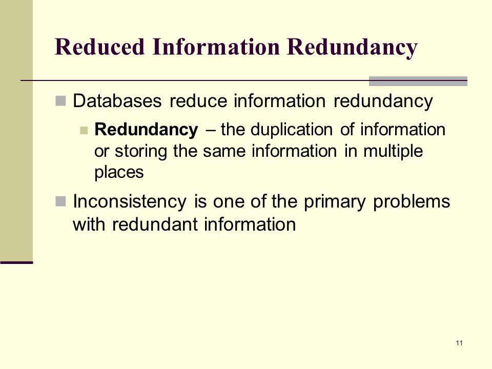 Reduced Information Redundancy