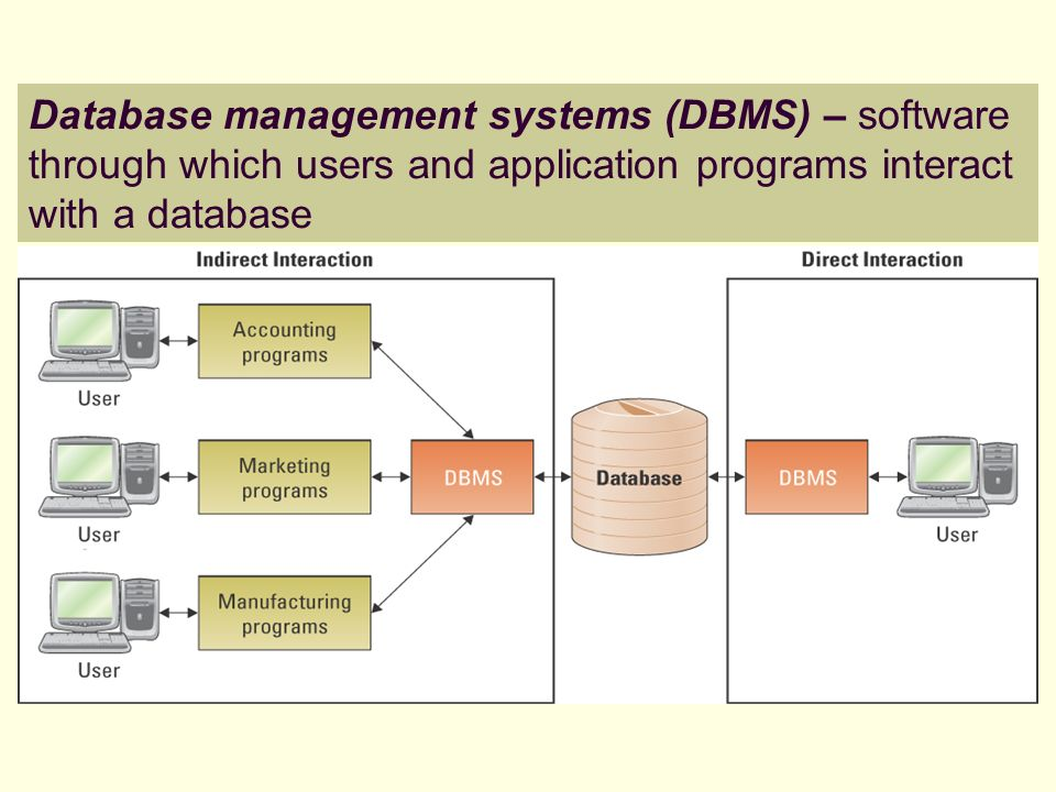 Database management systems (DBMS) – software through which users and application programs interact with a database