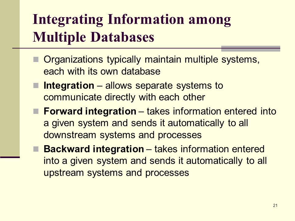 Integrating Information among Multiple Databases