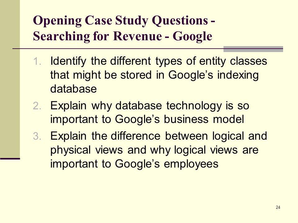 Opening Case Study Questions - Searching for Revenue - Google