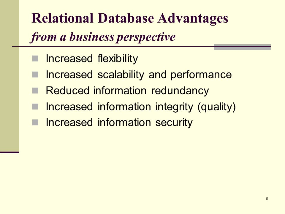 Relational Database Advantages from a business perspective