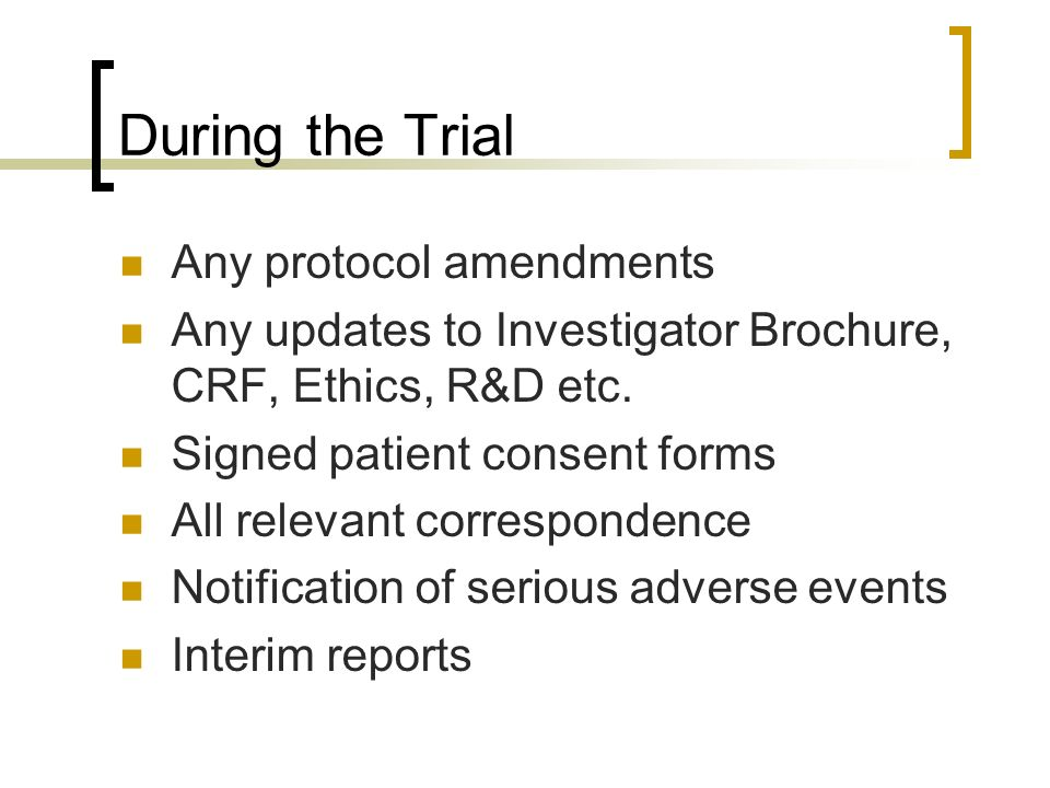 During the Trial Any protocol amendments