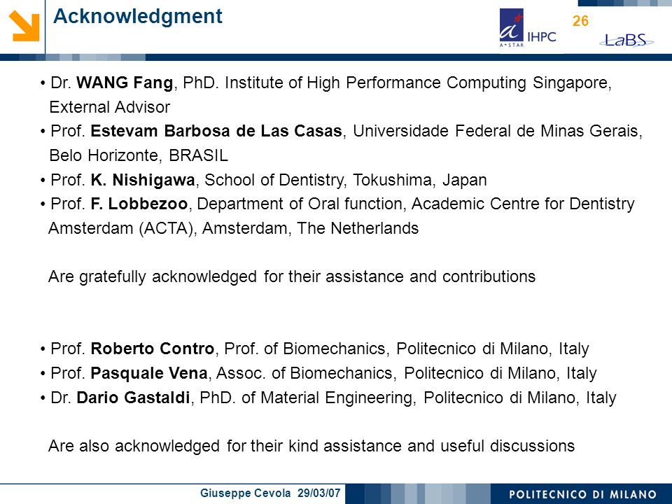 Acknowledgment Dr. WANG Fang, PhD. Institute of High Performance Computing Singapore, External Advisor.