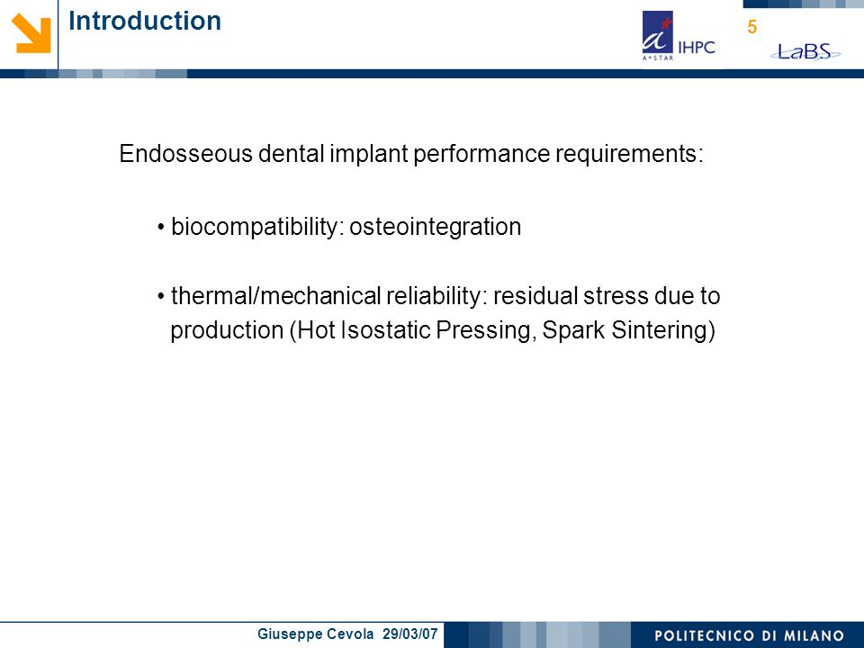 Introduction Endosseous dental implant performance requirements: