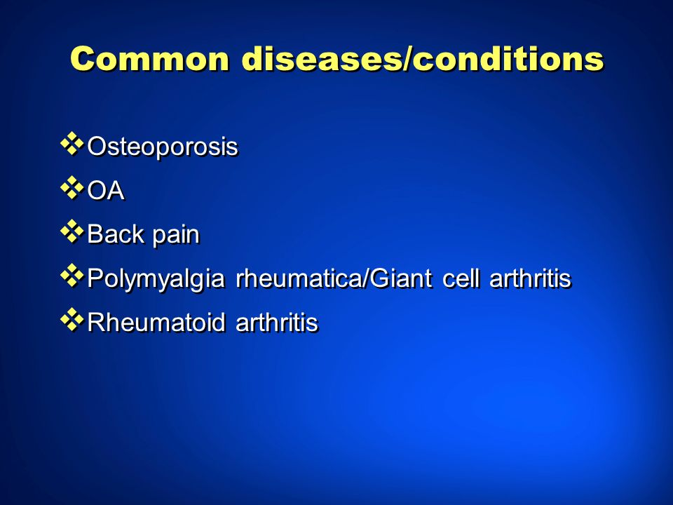 Common diseases/conditions