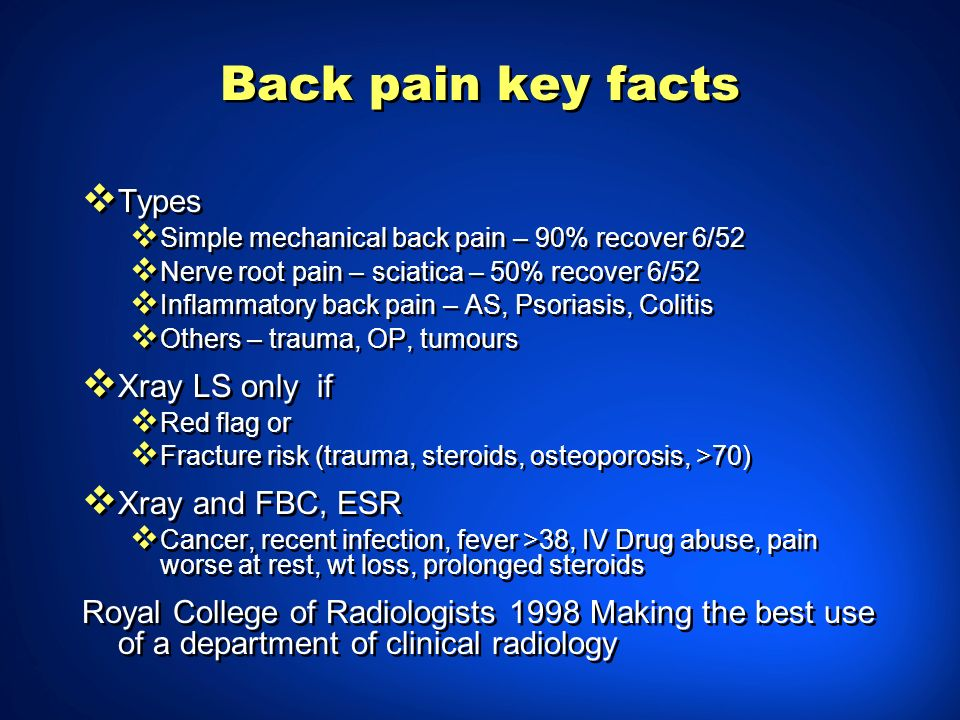 Back pain key facts Types Xray LS only if Xray and FBC, ESR