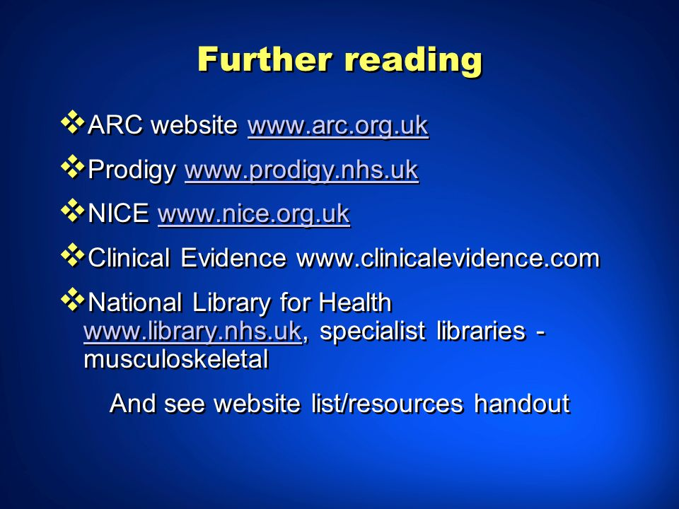 And see website list/resources handout
