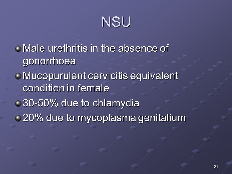 NSU Male urethritis in the absence of gonorrhoea