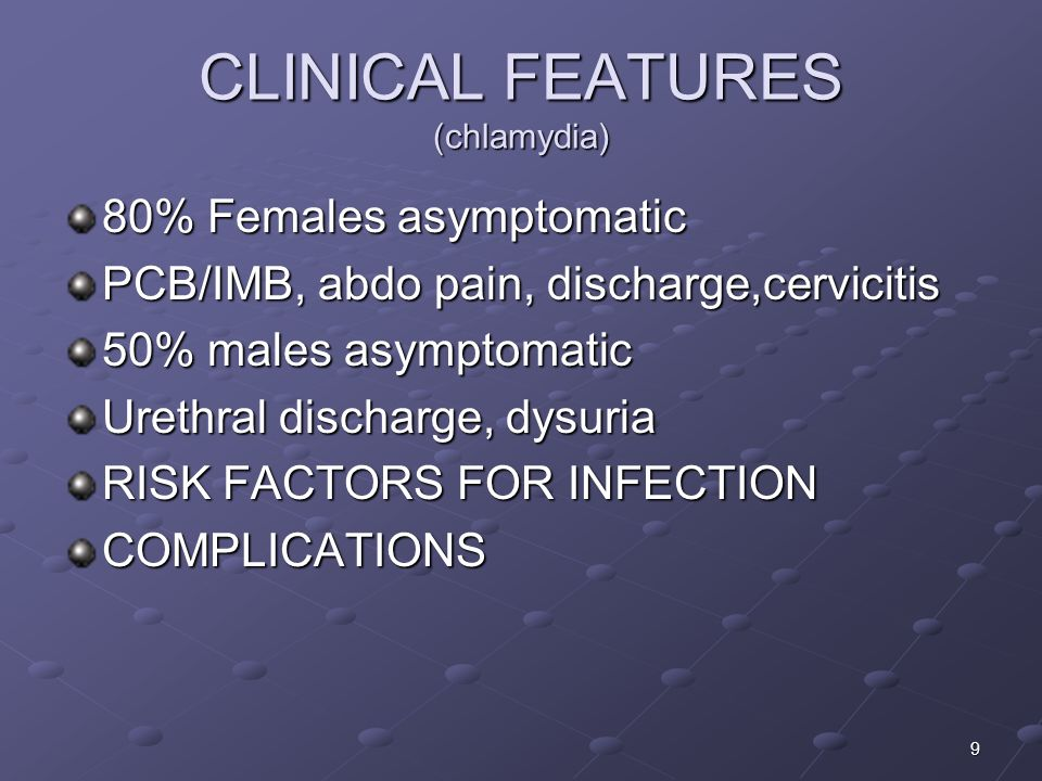 CLINICAL FEATURES (chlamydia)
