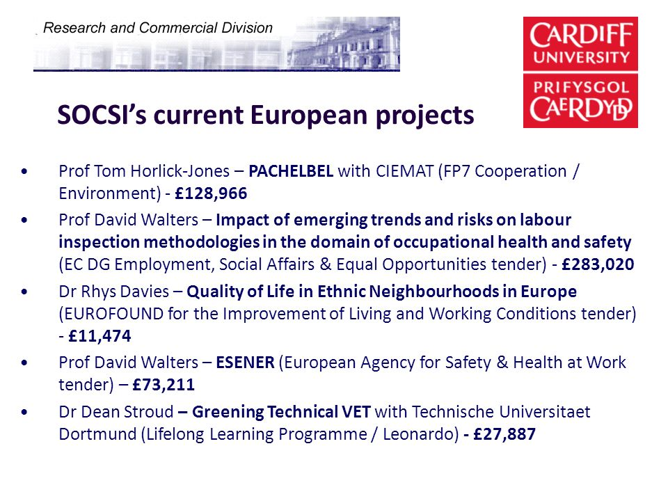 SOCSI's current European projects