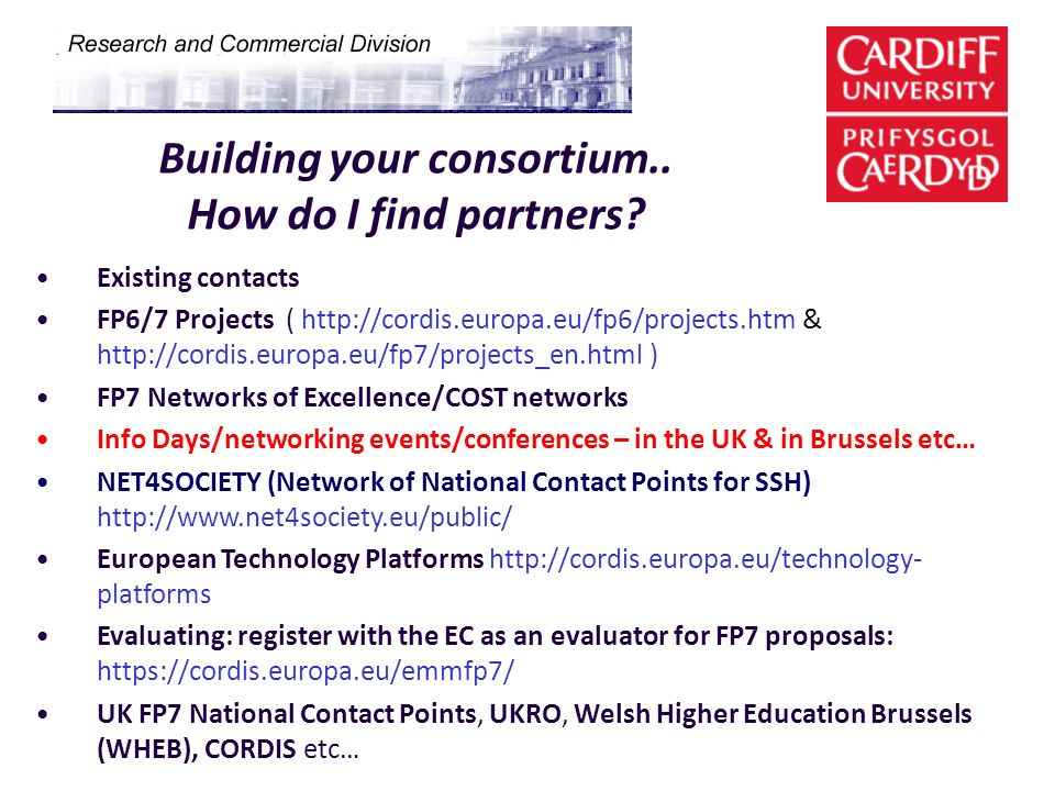 Building your consortium.. How do I find partners