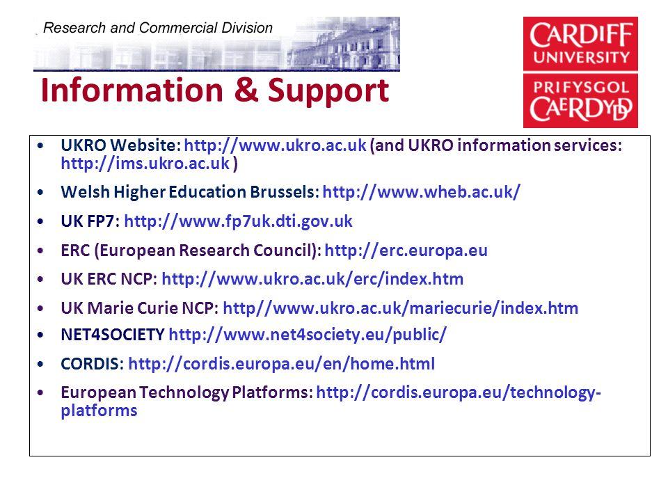 Information & Support UKRO Website: http://www.ukro.ac.uk (and UKRO information services: http://ims.ukro.ac.uk )