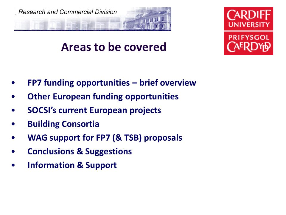 Areas to be covered FP7 funding opportunities – brief overview