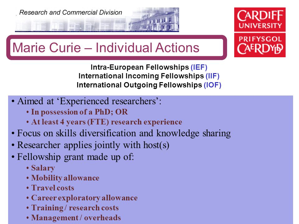 Marie Curie – Individual Actions