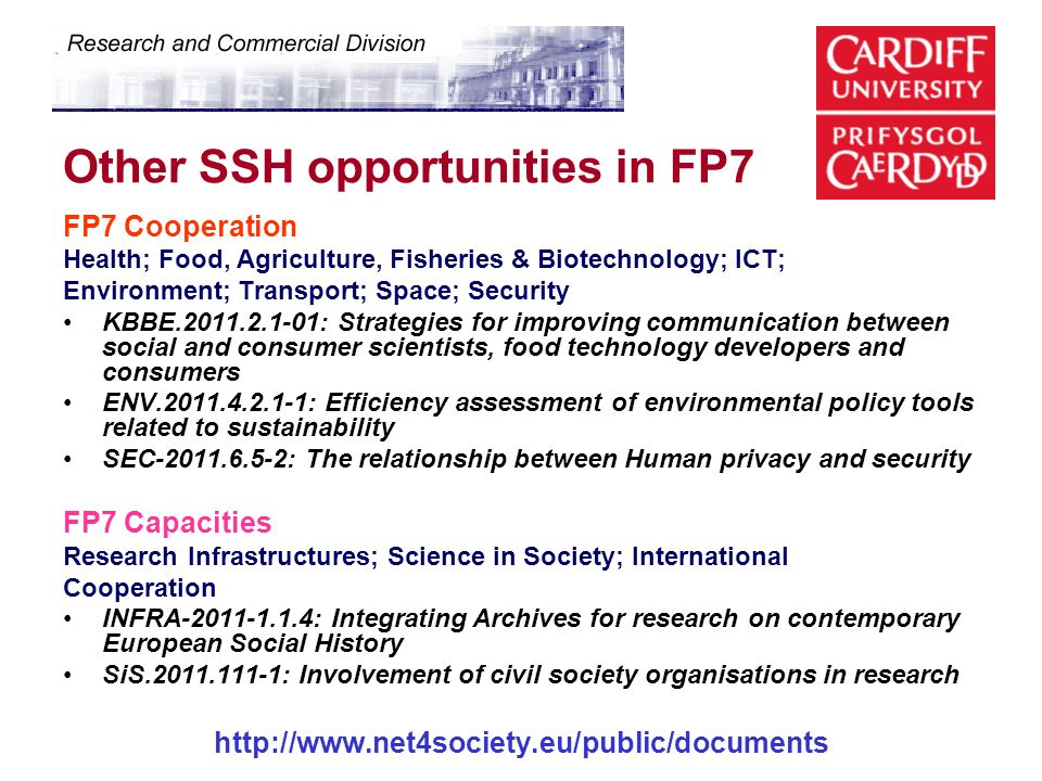 Other SSH opportunities in FP7